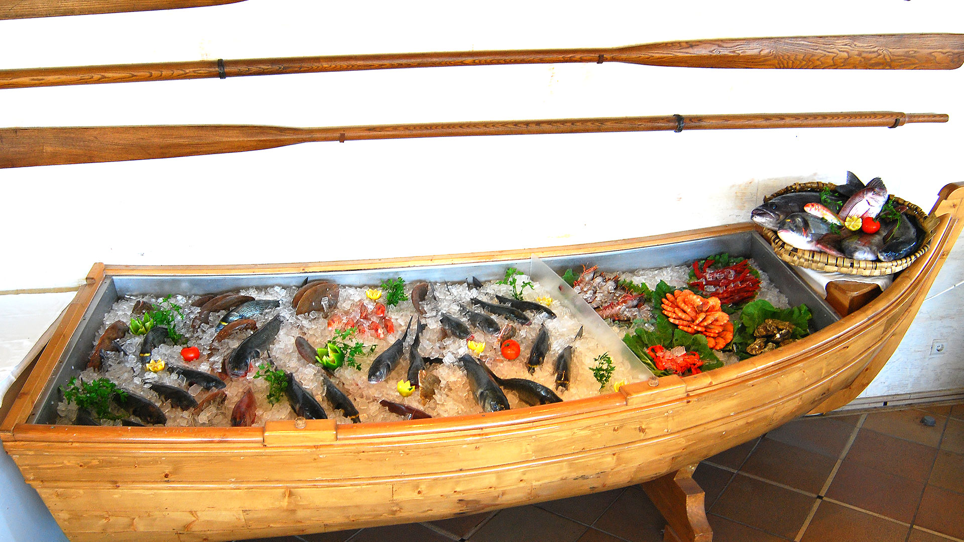 The world-famous fish and seafood in the refrigerator boat